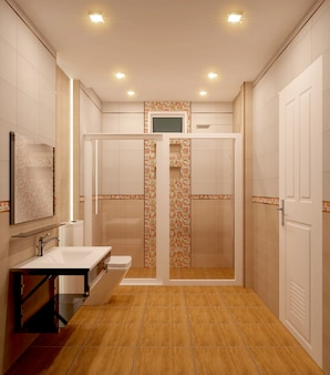 Bathroom orange tiles design and tiles mosaic design .3d rendering