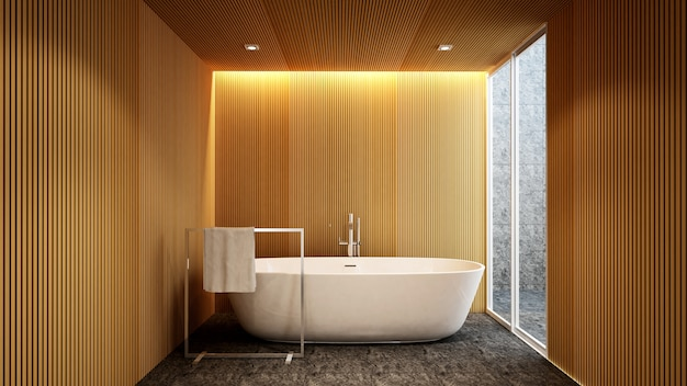 Bathroom and outdoor view for artwork of hotel or apartment