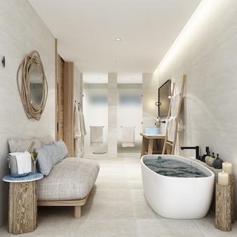 Санузел курортный с деревянной отделкой, мебелью и белым кафельным полом. 3d рендеринг