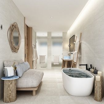 卫生间渡假渡假屋和林木装饰家具和白色瓷砖地板。3d渲染