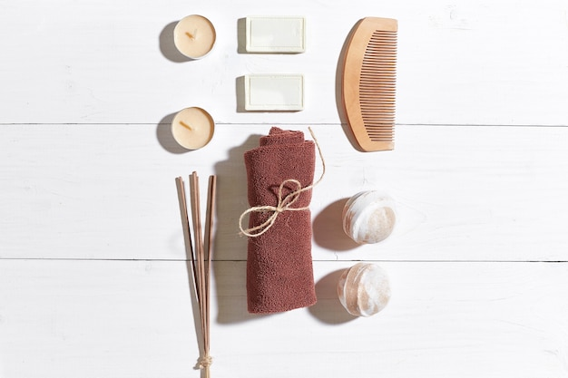 Bathroom or spa set on white background top view mock-up. copy space. still life. flat lay