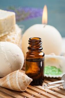 Bathroom spa set with essential oil, salt