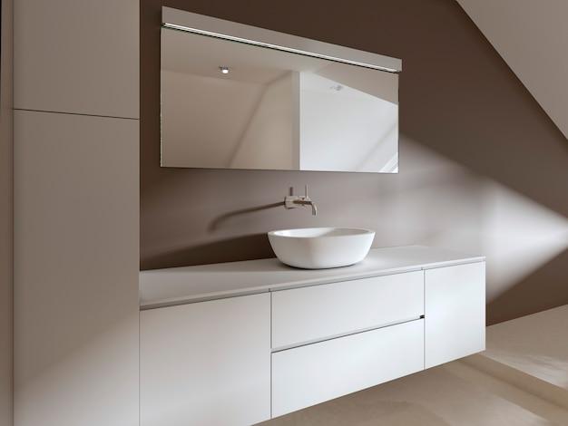 욕실의 욕실 세면대 현대적인 스타일. 3d 렌더링.