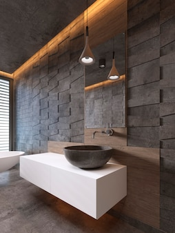 Тумба под раковину белого цвета, каменный умывальник, современный стиль. 3d рендеринг