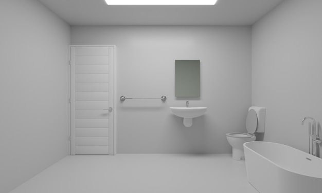 Bathroom white color looks comfortable on the eyes 3d rendering