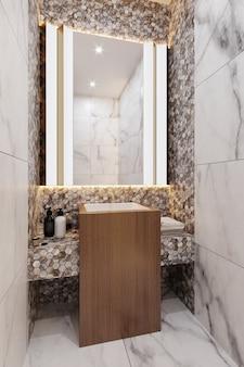 Ванная комната с серыми и коричневыми плиточными стенами. спа аксессуары и зеркало. 3d рендеринг