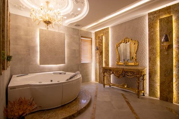 Bathroom with hot tub