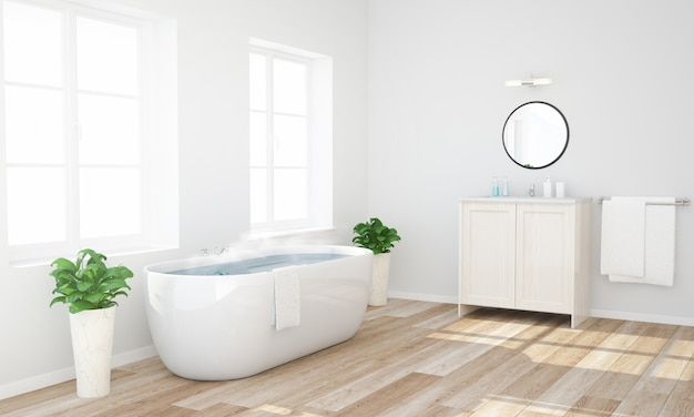 Bathroom with warm water ready to have a bath
