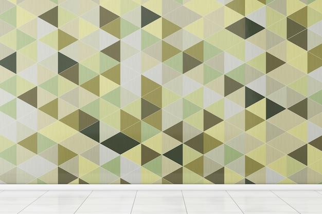 Ванная комната с белым полом и оливково-зеленым многоугольником геометрическими плитками стены крайний крупный план. 3d-рендеринг.