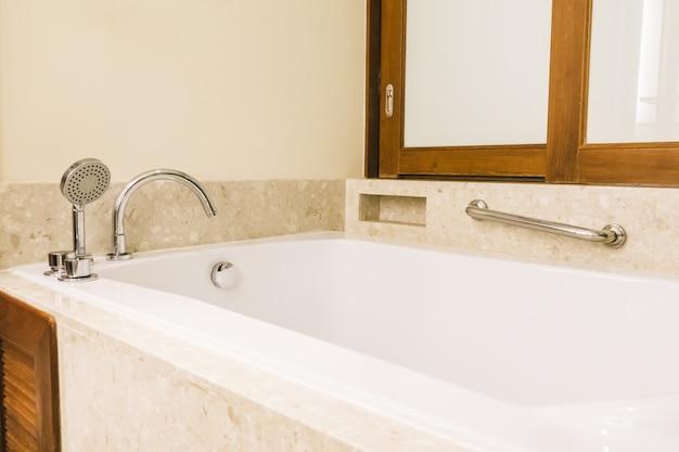 Bathtub decoration in bathroom interior