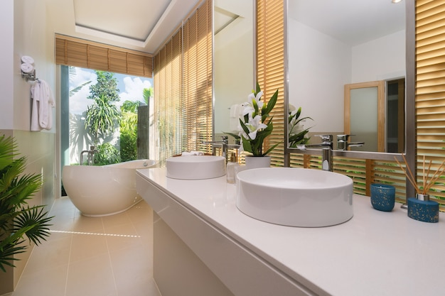 Bathtub and shower in house villa apartment and condo