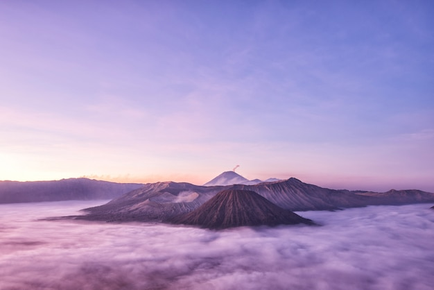 Batok and semeru volcanoes at sunrise