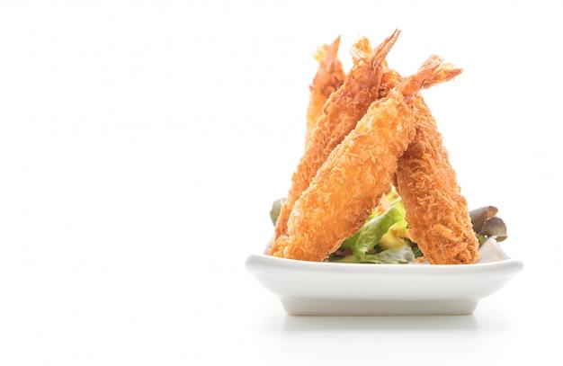 Batter-fried prawns on white