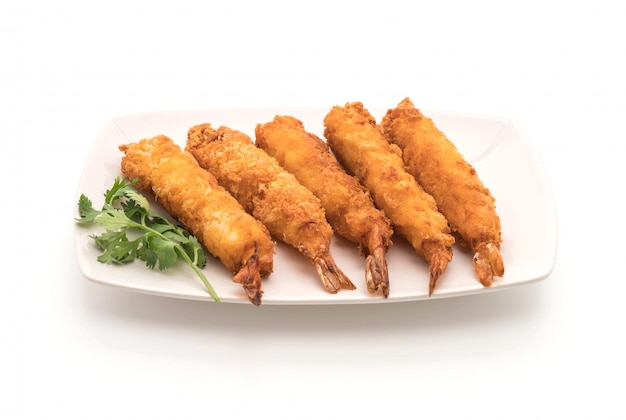Batter-fried prawns on white