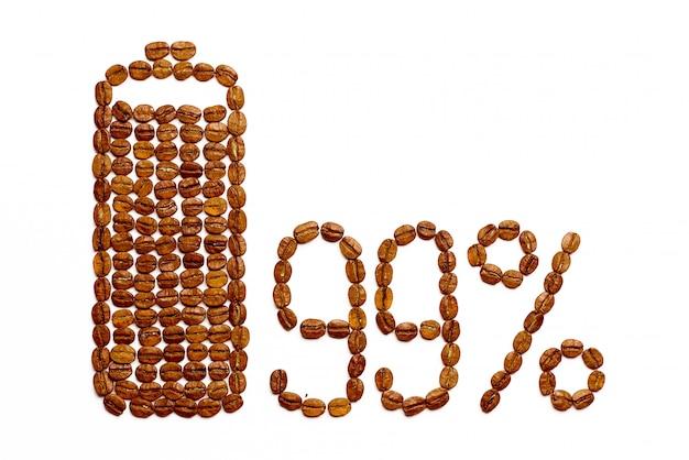 Заряд батареи 99% кофейных зерен