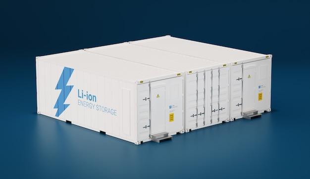 Аккумуляторный накопитель энергии из транспортных контейнеров. 3d-рендеринг.