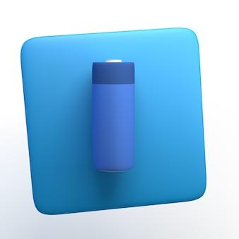 격리 된 흰색 배경에 배터리 아이콘입니다. 3d 그림입니다. 앱.