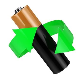 バッテリーリサイクルの概念。白い背景の上のバッテリーの周りの緑の矢印。 3dレンダリング。