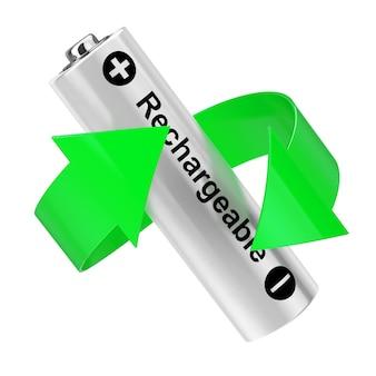 バッテリーリサイクルの概念。白地に充電式バッテリーの周りの緑の矢印。 3dレンダリング。