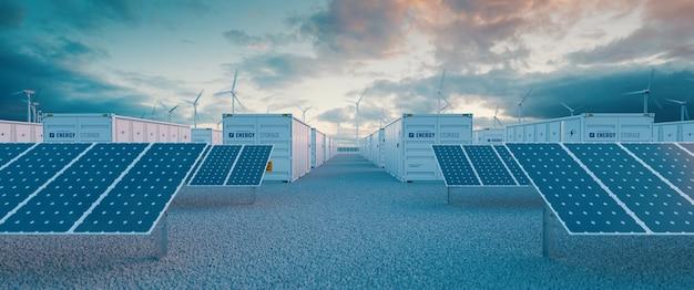 태양광 및 풍력 터빈 발전소를 동반한 배터리 저장 발전소. 3d 렌더링.