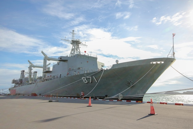 The battle ship code 871 stop near htms chakri naruebet is biggest in thai military battleship at chonburi ,thailand