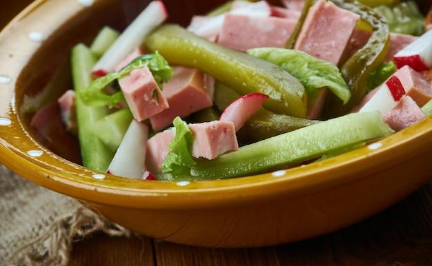 Bavarian cuisine , traditional bayrischer wurst salat