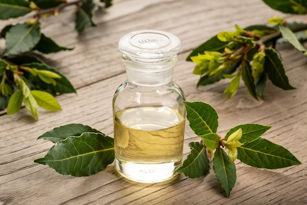 Bay essential oil isolated on glass bottle