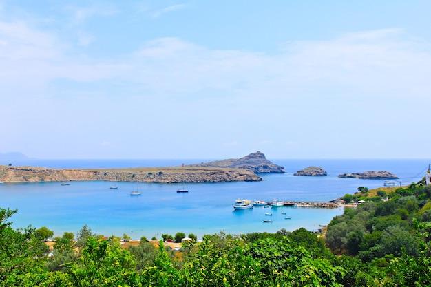 Bay of lindos, rhodes, greece