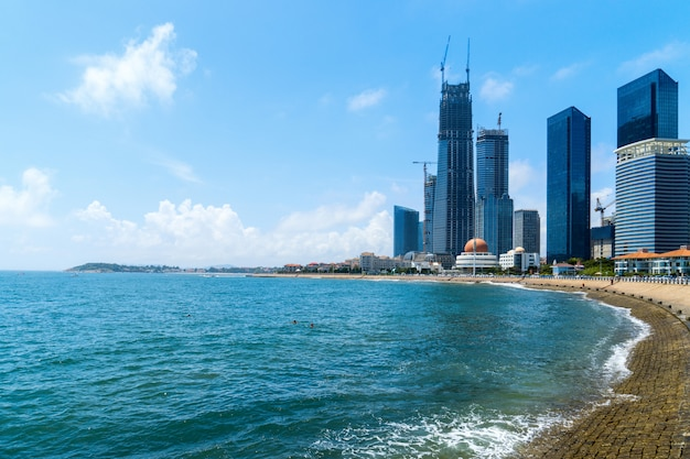 Bay and modern city skyline in qingdao, china