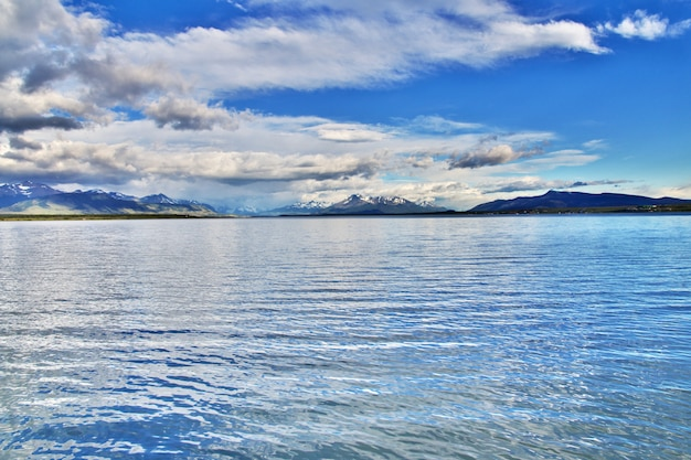 The bay of pacific ocean in puerto natales, chile