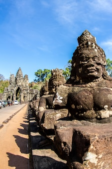 Bayon temple and stone faces in angkor thom,  angkor wat, siem reap, cambodia