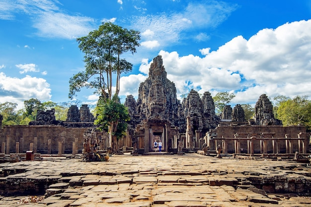 Bayon temple with giant stone faces, angkor wat, siem reap, cambodia.