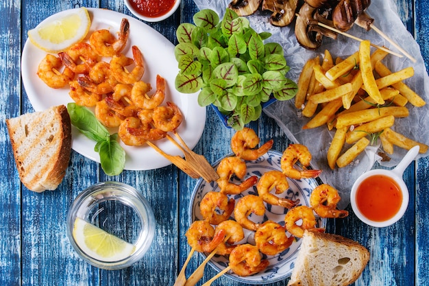 Bbq spicy prawn kebabs