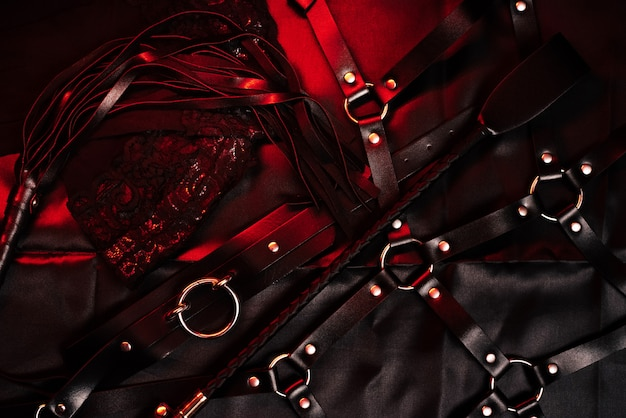 Bdsm set with leather whip, belt and choker