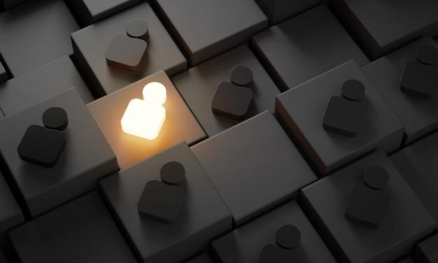 3d-концепция «будь другим», один человек светится среди людей в темноте
