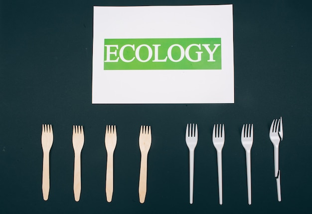 Be plastic free. zero waste. paper with word ecology near eco-friendly natural and single-use forks in the row on dark surface, top view. single-use plastic or reusable recyclable product. reduce