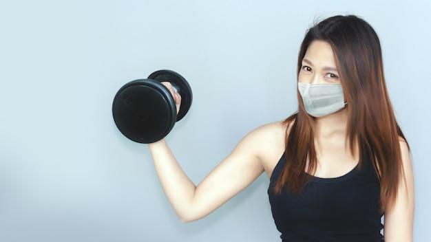 코로나 바이러스 전염병 개념에서 건강하게 지내십시오. 프리미엄 사진