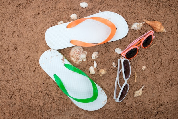 Beach accessories on the sand
