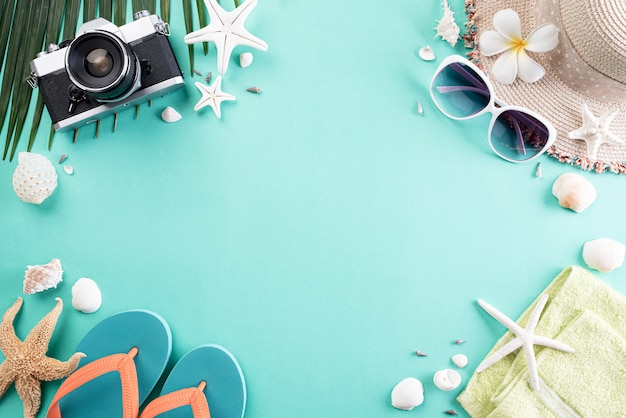 Beach accessories  for summer holiday and vacation background