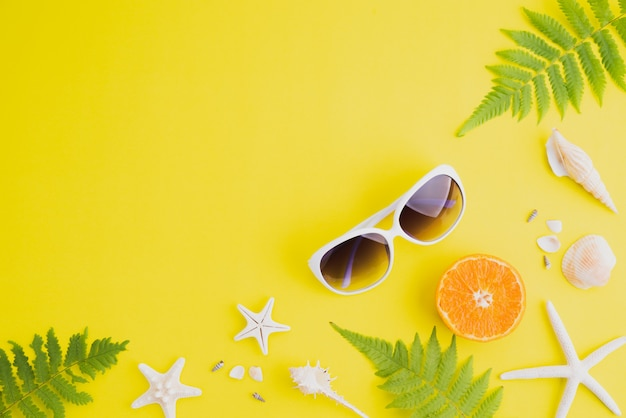Beach accessories for summer holiday and vacation concept. copyspace