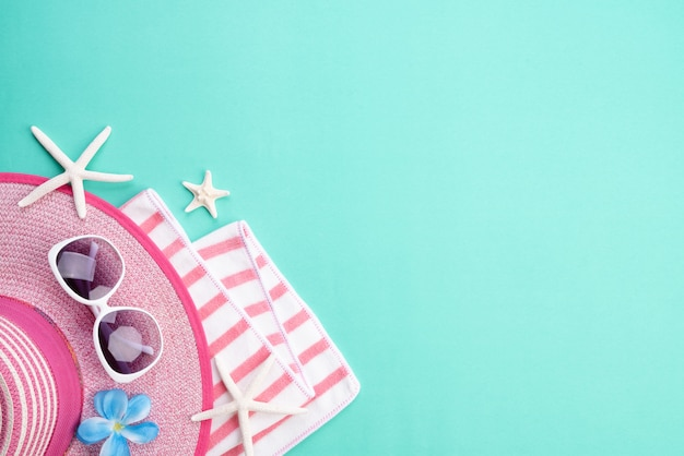 Beach accessories  for summer holiday and vacation concept.