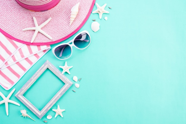 Beach accessories for summer holiday and vacation