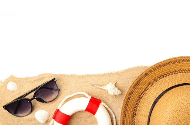 Beach accessories with sand isolated