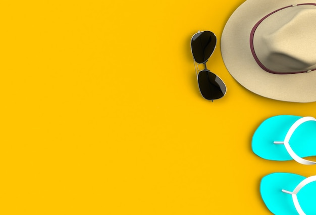 Beach accessories on yellow plank, summer vacation concept, 3d rendering