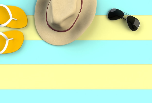 Beach accessories on yellow with blue wooden board, summer vacation concept