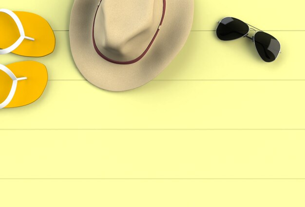 Beach accessories on yellow wooden board