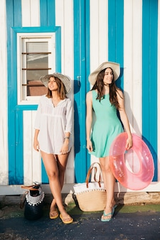 Beach and summer concept with two women
