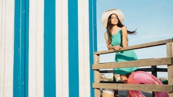 Beach and summer concept with woman looking