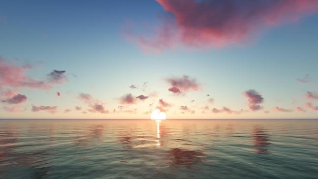 Пляж на закате с фиолетовыми облаками