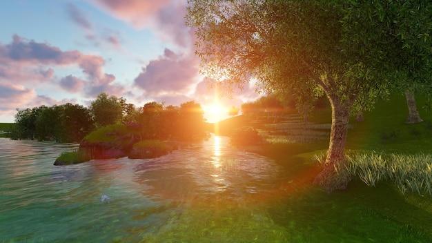 木々と日没のビーチ
